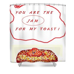 Shower Curtain featuring the drawing Jam For My Toast by Denise Fulmer