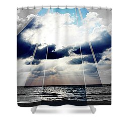 Jamaica Sunset Art Deco Bw With Color Shower Curtain