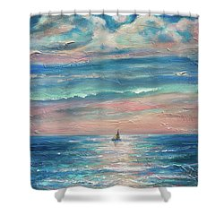 Shower Curtain featuring the painting Jamaican Moonrise by Linda Olsen
