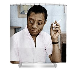 Shower Curtain featuring the photograph James Baldwin by Granger