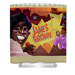Shower Curtain featuring the drawing James Brown by Nelson Dedos Garcia