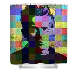 James Dean Actor Hollywood Pop Art Patchwork Portrait Pop Of Color Shower Curtain by Design Turnpike