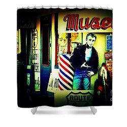 James Dean On Route 66 Shower Curtain by Susanne Van Hulst