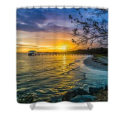 James Island Sunrise - Melton Peter Demetre Park Shower Curtain