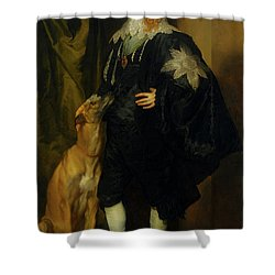 Shower Curtain featuring the painting James Stuart - Duke Of Richmond And Lennox                       by Anthony Van Dyck