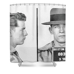 Shower Curtain featuring the mixed media James Whitey Bulger Mug Shot by Dan Sproul