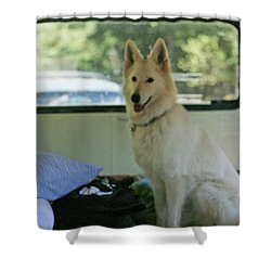 Jane Riding In The Bus Camping At Cape Lookout Shower Curtain