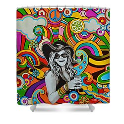 Shower Curtain featuring the painting Janis In Wonderland by Joseph Sonday