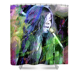 Janis Joplin Blue Shower Curtain