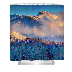 January Evening Truchas Peak Shower Curtain
