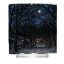 January Moon Shower Curtain by Sarah Yuster