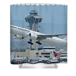 Shower Curtain featuring the photograph Japan Airlines Boeing 777-346er Ja737j Los Angeles International Airport May 3 2016 by Brian Lockett