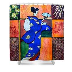 Japan Geisha Kimono Colorful Decorative Painting Ethnic Gift Decor Shower Curtain