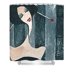 Shower Curtain featuring the painting Japanese Beauty by Maya Manolova