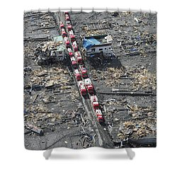 Japanese Fire Trucks Line A Road Shower Curtain by Stocktrek Images