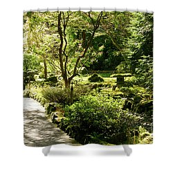 Japanese Garden At Butchart Gardens In Spring Shower Curtain by Louise Heusinkveld