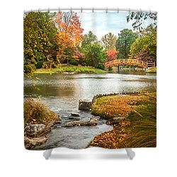 Shower Curtain featuring the photograph Japanese Garden Bridge Fall by David Coblitz