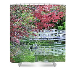 Japanese Garden Bridge In Springtime Shower Curtain by Carol Groenen