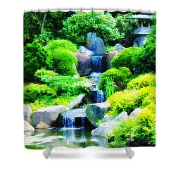 Japanese Garden Waterfall Shower Curtain by Bill Cannon