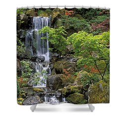 Japanese Garden Waterfall Shower Curtain