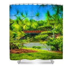 Japanese Gardens  Shower Curtain by Louis Ferreira