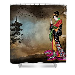 Japanese Girl With A Landscape In The Background. Shower Curtain