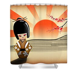 Japanese Kokeshi Doll Shower Curtain by John Wills