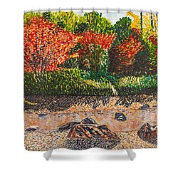 Japanese Maple Trees At The Creek Shower Curtain