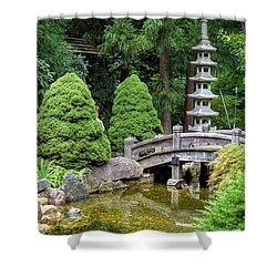 Japanese Style Retreat Shower Curtain by Mary Zeman