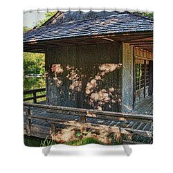 Japanese Teahouse Shower Curtain by Tamyra Ayles
