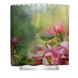 Japanese White-eye On A Blooming Tree Shower Curtain