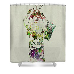 Japanese Woman In Kimono Shower Curtain by Naxart Studio