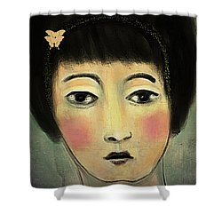 Japanese Woman With Butterflies Shower Curtain by Alexis Rotella