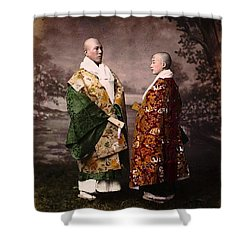 Japanese Zen Buddhist Priests Circa 1880 Shower Curtain by Peter Gumaer Ogden
