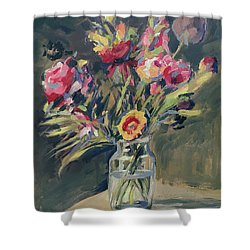 Jar Vase With Flowers Shower Curtain