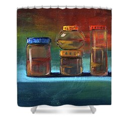 Shower Curtain featuring the painting Jars Still Life Painting by Nancy Merkle