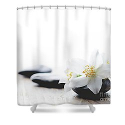 Jasmine Flower On Spa Stones Shower Curtain