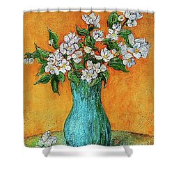 Jasmine Flowers In A Blue Pot Shower Curtain