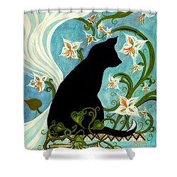 Jasmine On My Mind - Black Cat In Window Shower Curtain