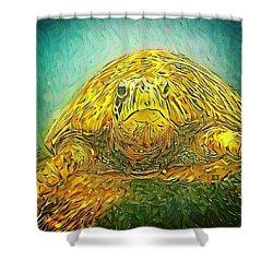 Shower Curtain featuring the digital art Jasmine The Turtle by Erika Swartzkopf