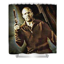 Jason Statham - Actor Painting Shower Curtain