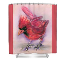 Shower Curtain featuring the pastel Jaunty Redbird Cardinal by MM Anderson