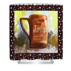 Java Coffee Cup With Blue Dots Shower Curtain by Jai Johnson