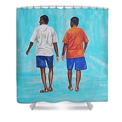 Jay Walkers Shower Curtain by Usha Shantharam