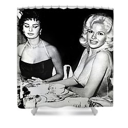 Jayne Mansfield Hollywood  Actress Sophia Loren 1957 Shower Curtain