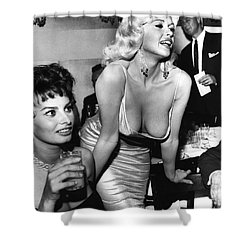 Jayne Mansfield Hollywood Actress And, Italian Actress Sophia Loren 1957 Shower Curtain