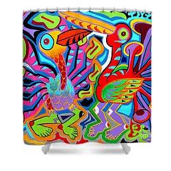 Jazz Birds Shower Curtain by Ed Tajchman