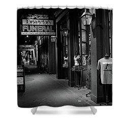 Jazz Funeral In Black And White Shower Curtain