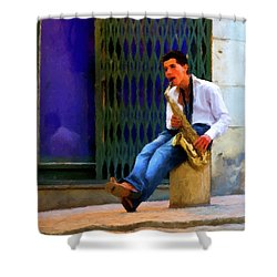 Shower Curtain featuring the photograph Jazz In The Street by David Dehner