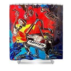 Jazz Piano Shower Curtain by Mark Kazav